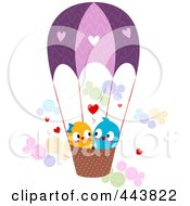 Royalty Free RF Clip Art Illustration Of Love Birds In A Hot Air Balloon by BNP Design Studio