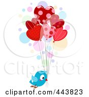 Royalty Free RF Clip Art Illustration Of A Love Bird Delivering Heart Balloons by BNP Design Studio