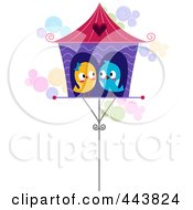 Royalty Free RF Clip Art Illustration Of Love Birds In Their House by BNP Design Studio