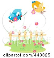 Royalty Free RF Clip Art Illustration Of Love Birds Exchanging Flowers