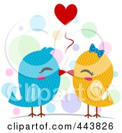 Royalty Free RF Clip Art Illustration Of Kissing Love Birds by BNP Design Studio
