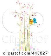 Royalty Free RF Clip Art Illustration Of Love Birds In Tall Trees
