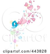 Royalty Free RF Clip Art Illustration Of A Love Bird Blowing Heart Bubbles by BNP Design Studio