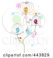Royalty Free RF Clip Art Illustration Of Love Birds In Wire Cages