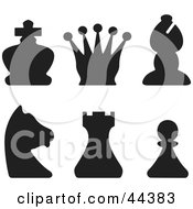 Clipart Illustration Of A Collage Of Black Silhouette Of Black Pieces From A Chess Game