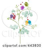 Royalty Free RF Clip Art Illustration Of Love Bird Couples In A Tree by BNP Design Studio