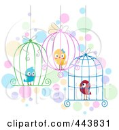 Royalty Free RF Clip Art Illustration Of Love Birds In Different Cages by BNP Design Studio