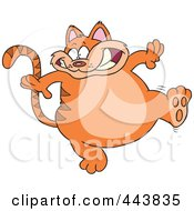 Royalty Free RF Clip Art Illustration Of A Cartoon Walking Fat Orange Cat