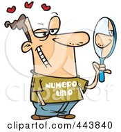 Royalty Free RF Clip Art Illustration Of A Cartoon Vain Man Staring At His Reflection In A Mirror