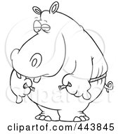 Royalty Free RF Clip Art Illustration Of A Cartoon Black And White Outline Design Of A Big Hippo Measuring His Waist With A Short Tape by toonaday