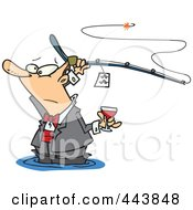 Royalty Free RF Clip Art Illustration Of A Cartoon Man Fancy Fishing With Wine by toonaday