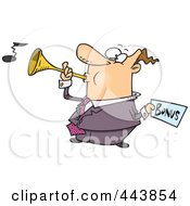 Royalty Free RF Clip Art Illustration Of A Cartoon Man Holding A Bonus And Blowing A Horn