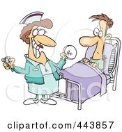 Royalty Free RF Clip Art Illustration Of A Cartoon Nurse Giving A Patient Medication by Ron Leishman