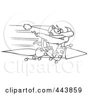 Royalty Free RF Clip Art Illustration Of A Cartoon Black And White Outline Design Of Santa Riding A Fast Rocket