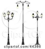 Clipart Illustration Of A Collage Of Three Wrought Iron Street Lamps by Frisko