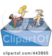 Royalty Free RF Clip Art Illustration Of Cartoon Business Men And A Woman In A Maze #443865 by toonaday