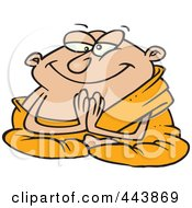 Royalty Free RF Clip Art Illustration Of A Cartoon Meditating Monk