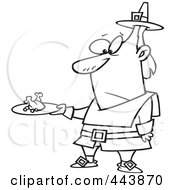 Royalty Free RF Clip Art Illustration Of A Cartoon Black And White Outline Design Of A Pilgrim Man Carrying A Meagre Meal