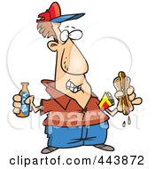 Royalty Free RF Clip Art Illustration Of A Cartoon Man With Soda And A Hot Dog by toonaday