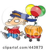 Royalty Free RF Clip Art Illustration Of A Cartoon Boy Pulling A Pumpkin In A Wagon