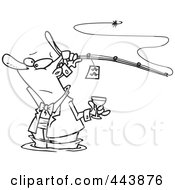 Royalty Free RF Clip Art Illustration Of A Cartoon Black And White Outline Design Of A Man Fancy Fishing With Wine