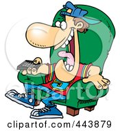 Royalty Free RF Clip Art Illustration Of A Cartoon Sports Fan Holding A Tv Remote by Ron Leishman