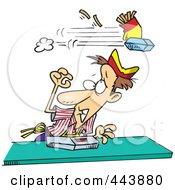 Royalty Free RF Clip Art Illustration Of A Cartoon Fast Food Ducking Flying Food