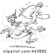 Royalty Free RF Clip Art Illustration Of A Cartoon Black And White Outline Design Of A Woman Eating On The Run