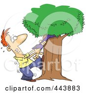 Royalty Free RF Clip Art Illustration Of A Cartoon Man Tugging An Arm From His Family Tree by toonaday