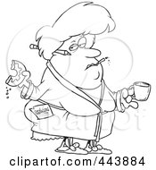 Royalty Free RF Clip Art Illustration Of A Cartoon Black And White Outline Design Of A Fat Woman Eating A Donut And Failing At Her Resolution by toonaday