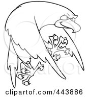 Royalty Free RF Clip Art Illustration Of A Cartoon Black And White Outline Design Of A Tough Falcon