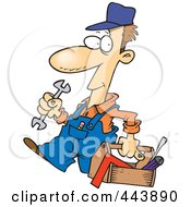 Royalty Free RF Clip Art Illustration Of A Cartoon Repair Man Carrying A Tool Box by toonaday