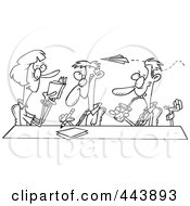 Cartoon Black And White Outline Design Of A Business Team Clowning Around In A Meeting