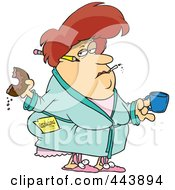 Royalty Free RF Clip Art Illustration Of A Cartoon Fat Woman Eating A Donut And Failing At Her Resolution by toonaday