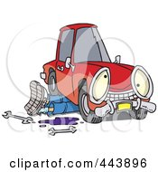 Royalty Free RF Clip Art Illustration Of A Cartoon Mechanic Working Under A Car by toonaday