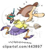Royalty Free RF Clip Art Illustration Of A Cartoon Woman Eating On The Run