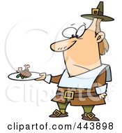 Royalty Free RF Clip Art Illustration Of A Cartoon Pilgrim Man Carrying A Meagre Meal