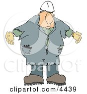 Male Worker Wearing Old Coveralls And A White Hard Hat Clipart
