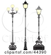 Clipart Illustration Of A Collage Of Three Antique Iron Street Lamps