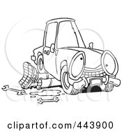 Royalty Free RF Clip Art Illustration Of A Cartoon Black And White Outline Design Of A Mechanic Working Under A Car by toonaday