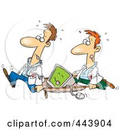 Royalty Free RF Clip Art Illustration Of Cartoon Medics Carrying A Computer On A Gurney