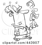 Royalty Free RF Clip Art Illustration Of A Cartoon Black And White Outline Design Of A Sick Man Taking Cold Medicine by toonaday
