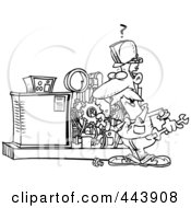Royalty Free RF Clip Art Illustration Of A Cartoon Black And White Outline Design Of A Mechanic Working On A Machine by toonaday