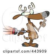 Royalty Free RF Clip Art Illustration Of A Cartoon Deer Holding A Flashlight