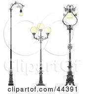 Clipart Illustration Of A Collage Of Three Vintage Iron Street Lamps