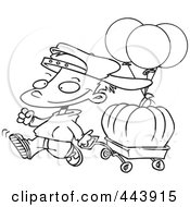 Royalty Free RF Clip Art Illustration Of A Cartoon Black And White Outline Design Of A Boy Pulling A Pumpkin In A Wagon