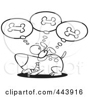 Royalty Free RF Clip Art Illustration Of A Cartoon Black And White Outline Design Of A Dog Day Dreaming Of Bones