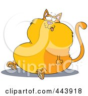 Royalty Free RF Clip Art Illustration Of A Cartoon Sitting Fat Cat