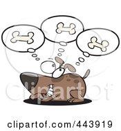 Royalty Free RF Clip Art Illustration Of A Cartoon Dog Day Dreaming Of Bones