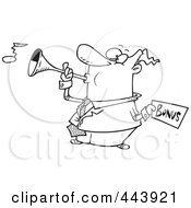 Royalty Free RF Clip Art Illustration Of A Cartoon Black And White Outline Design Of A Man Holding A Bonus And Blowing A Horn